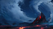 canvas print picture - volcano
