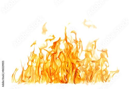 Fotobehang Vuur dark and bright orange fire on white background