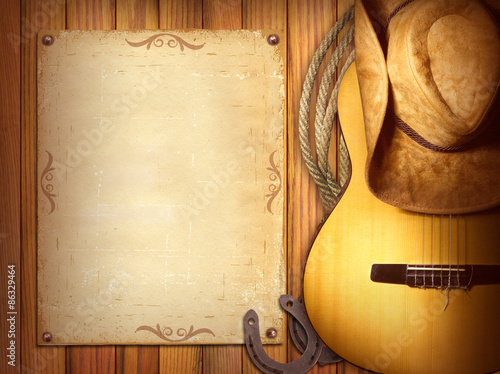 Fotografía  American Country music poster.Wood background with guitar
