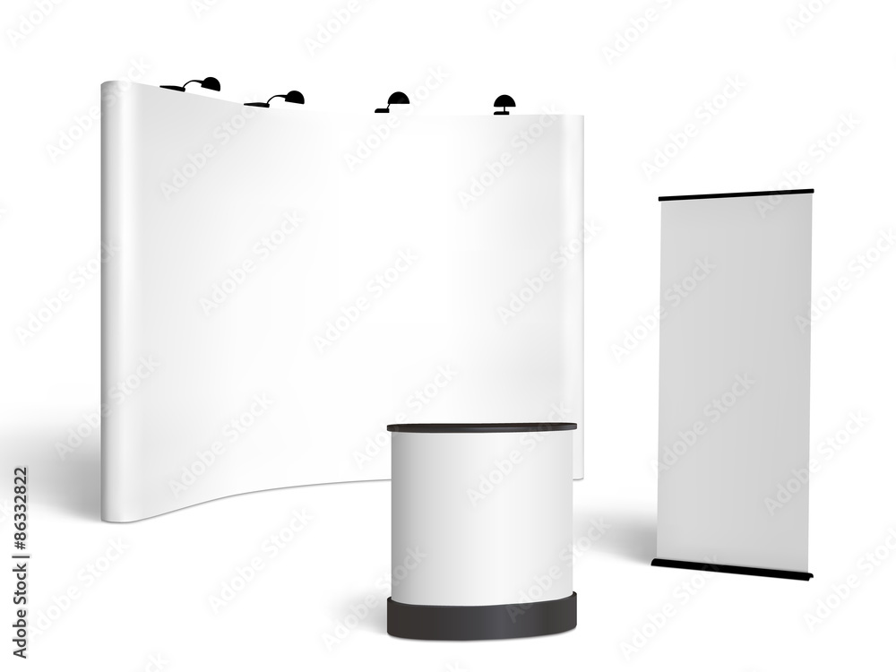 Fototapeta Trade show booth mock-up. Vector isolated on white background