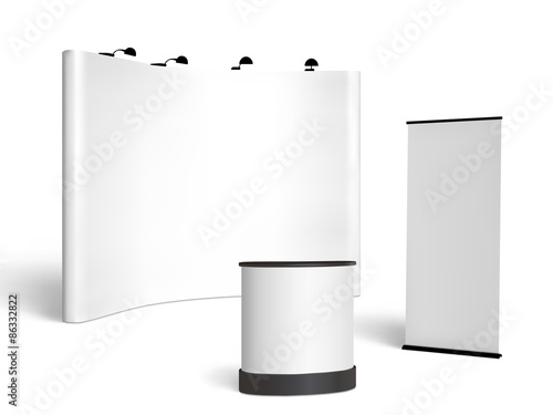 Fotografie, Obraz  Trade show booth mock-up. Vector isolated on white background