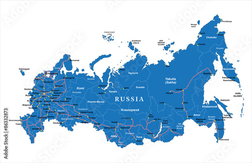 Russia map Tablou Canvas