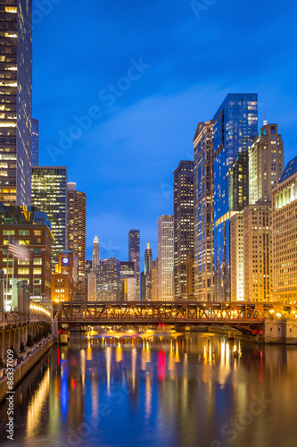Poster Chicago Chicago downtown and Chicago River