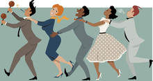 Diverse Group Of People Dressed In Late 1950s Early 1960s Fashion Dancing Conga With Maracas And Party Whistle, Vector Illustration, No Transparencies, EPS 8