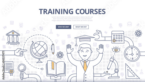 Foto  Training Courses and Education Doodle Concept
