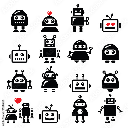 Photo  Male and female robot, Artificial Intelligence (AI) icons set