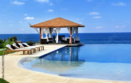 Pavilion and swimming pool in resort Wallpaper Mural