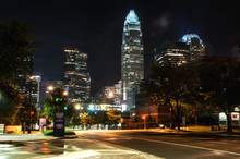 Charlotte, NC. United States. City Lights And Streets In Downtown