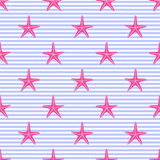Seamless pattern with pink starfishes on stripes. Cute nautical background. Marine life Background. Baby shower vector illustration. Marine texture.