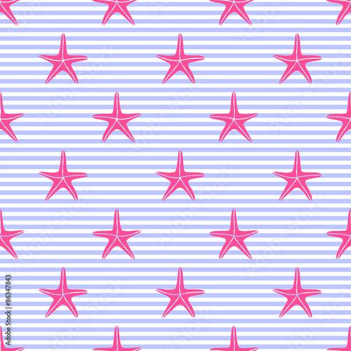 wzor-z-rozowe-rozgwiazdy-na-paskach-slodkie-tlo-morskie-tlo-zycia-morskiego-ilustracja-wektorowa-baby-shower-morska-tekstura