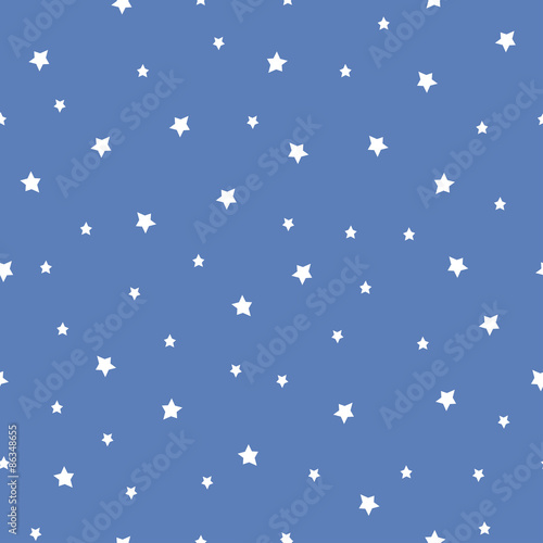 Cotton fabric Seamless pattern with stars on blue background. Night sky nature illustration. Cute baby shower background.
