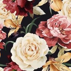 FototapetaSeamless floral pattern with roses, watercolor. Vector illustrat