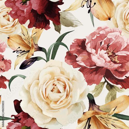 kwiatowy-wzor-z-roz-akwarela-wektorowy-illustrat