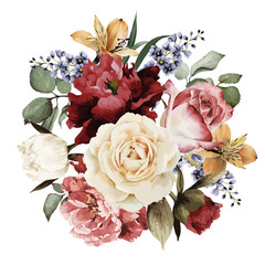 Fototapeta Róże Greeting card with roses, watercolor, can be used as invitation