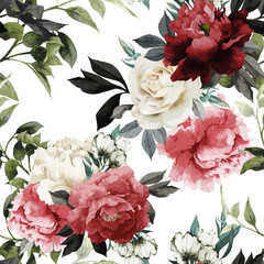 Fototapeta Róże Seamless floral pattern with roses, watercolor. Vector illustrat