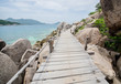 Nang Yuan Island with blue sea and Wooden Footbridge, Thailand