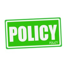 POLICY White Stamp Text On Green