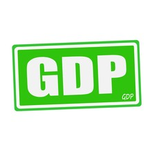 GDP White Stamp Text On Green