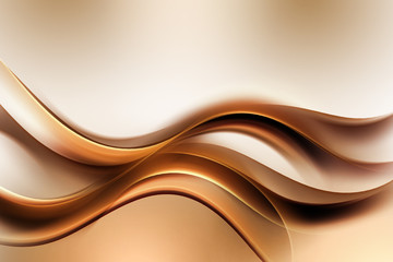Panel Szklany Dym Dark Gold Amazing Abstract Waves Background