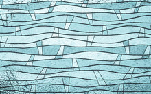 Close Up Of Blue Stained Glass, Abstract Vintage Background