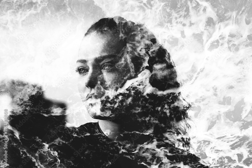 Double exposure of girl with gorgeous eyes and sea foam