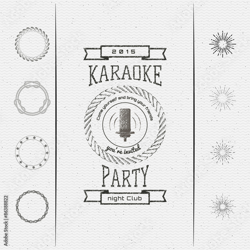 Foto auf AluDibond Boho-Stil Karaoke party badges logos and labels for any use