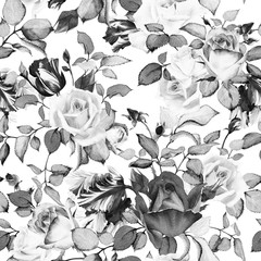 Panel Szklany Czarno-Biały Seamless floral pattern with roses, watercolor