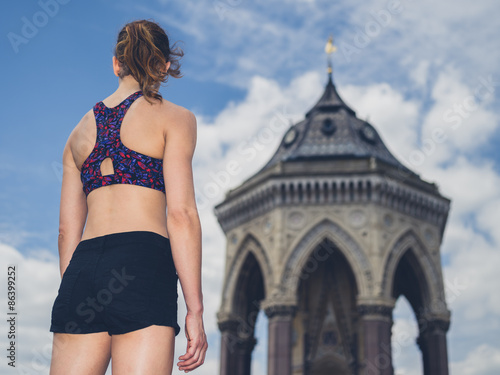 Fotografie, Obraz  Rear view of fit young woman