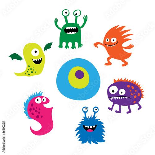 Printed kitchen splashbacks Illustrations Seth bright funny cute monsters