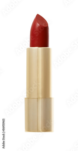 Red color Lipstick in golden container