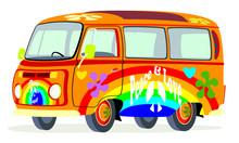 Caricatura Furgoneta T2 Microbus Hippie Multicolor Vista Frontal Y Lateral
