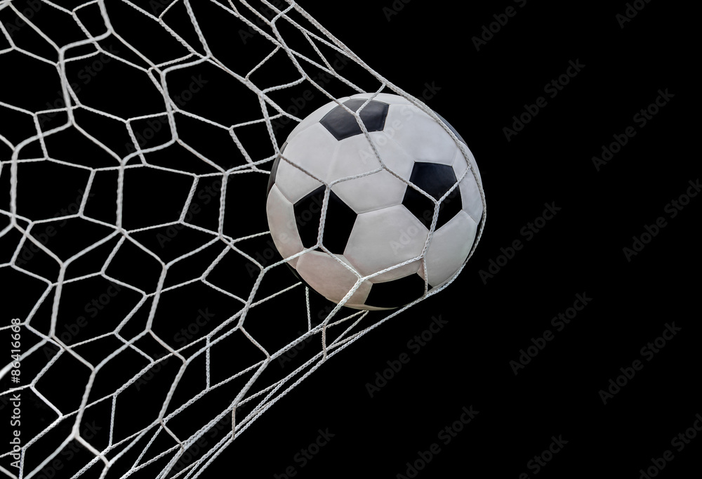Fototapeta Shoot soccer ball in goal