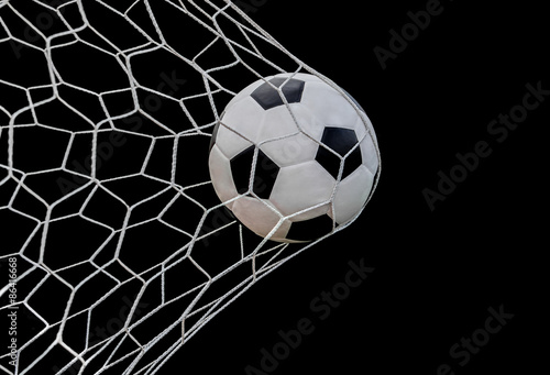Fototapeta Shoot soccer ball in goal obraz