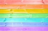 Fototapeta Tęcza - Pastel colorful rainbow painted wood planks background