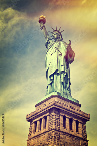 Photo  Close up of the statue of liberty with its pedestal, New York City, vintage proc