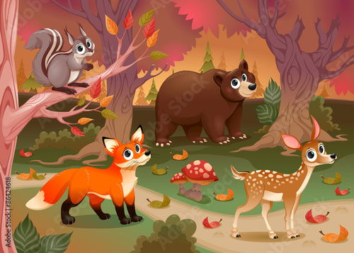 fototapeta na lodówkę Śmieszne zwierzęta w lesie