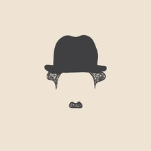 Man With Mustache Wearing A Vintage Hat. Sketch Style