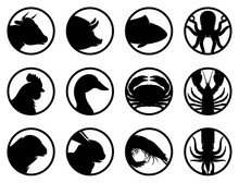 Set Of Seafood And Farm Animals Flat Icons