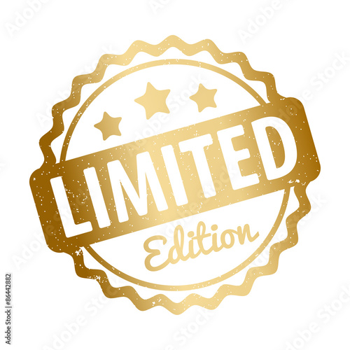 Fototapeta Limited Edition rubber stamp award vector gold on a white background