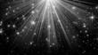 light rays and stars on black background