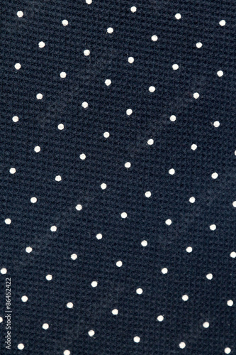Valokuva  Navy blue box weave cotton fabric with white dots, full frame