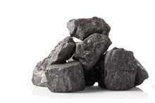 Pile Of Coal Isolated On White...