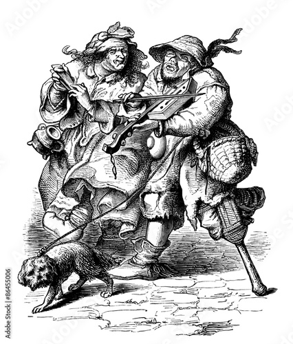 Valokuva  Disabled  Beggars - Cour des Miracles - 17th century
