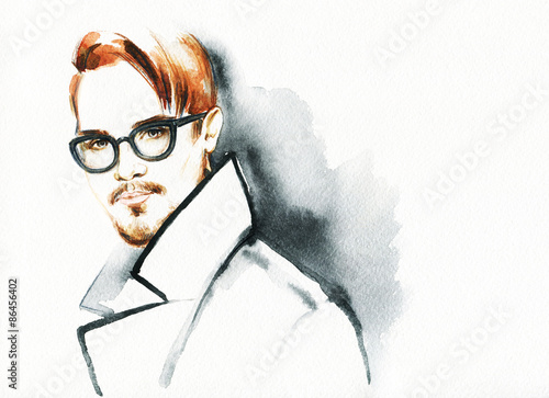 Poster Portrait Aquarelle Fashion portrait. young beautiful man.