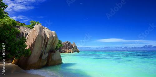 Foto auf Gartenposter Dunkelblau Plage des Seychelles