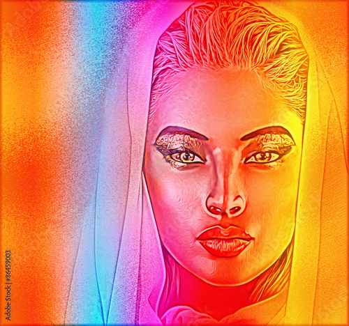 Fotografie, Obraz  A spiritual woman's face close up with a veil with a colorful abstract gradient effect that adds mystery