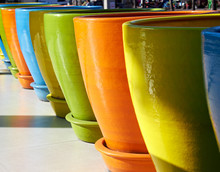 Big Pot In A Several Bright Color.