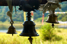 Old Bronze Bells In Indian Tem...