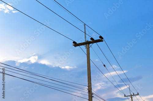electric pole power lines and wires Fototapeta