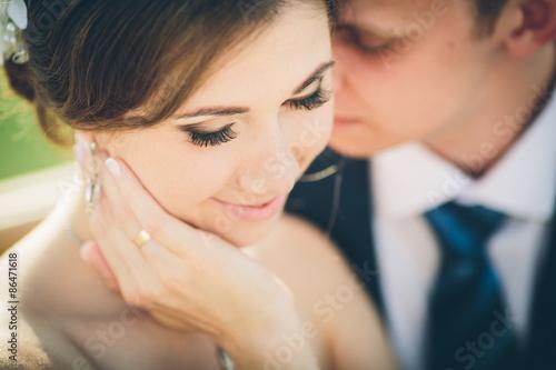Fotografie, Obraz  A bride and groom